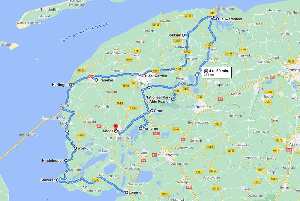 route voor de roadtrip Friesland